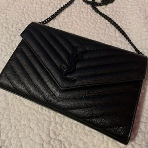 SOLD YSL Medium Monogram Matelassé wallet-on-chain